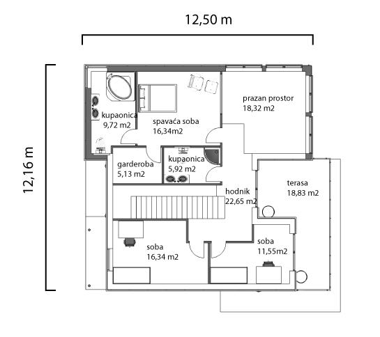 Kuća Sabina tlocrt kata